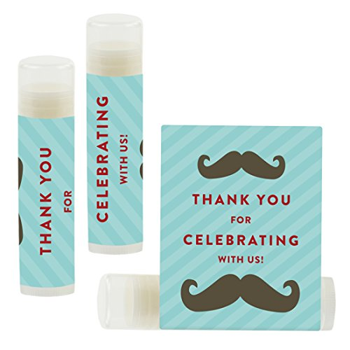Andaz Press Lip Balm Birthday Party Favors, Thank You for Celebrating with Us, Mustache, 12-Pack