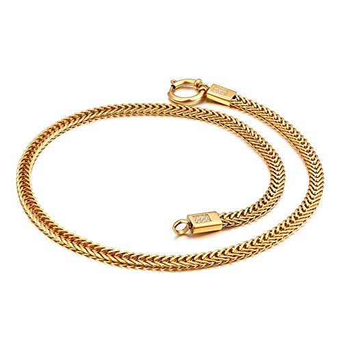 BJINUIY Exquisito Collar de Cola de Zorro de Acero de Titanio, Cadena de Oro Grande, Collar de 50 x...