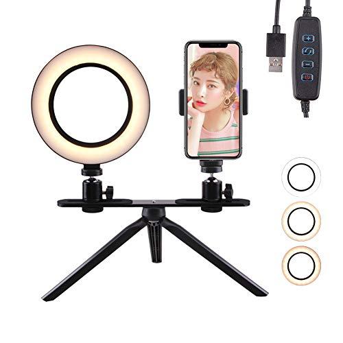 SDFER Utilizado para Luces de Video LED para Maquillaje, Luces de Anillo de Soporte de Escritorio, Retratos de Tatuajes de iluminación de Belleza de Dos Colores Regulables, Selfies-6.3in
