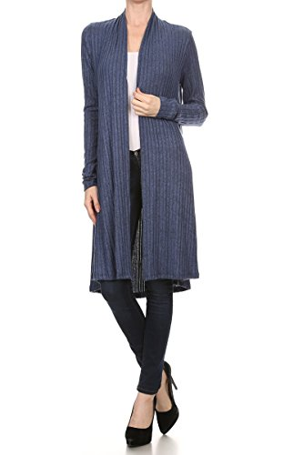 Women's Open Front Solid Knit Long Sleeve Rib Sweater Cardigan - Made in USA (X-Large, Blue) Missouri
