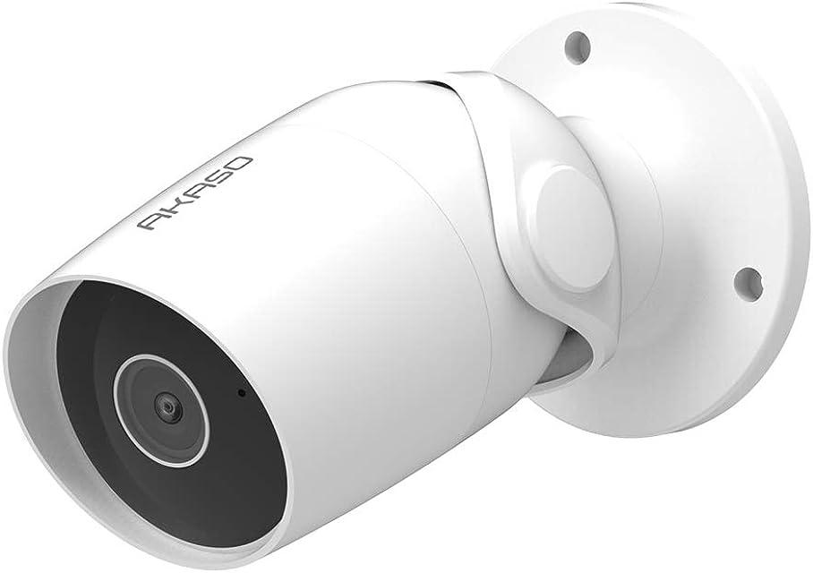 AKASO Cámara de Vigilancia Exterior HD1080P Impermeable Compatible con Alexa Google Home Fire TV Cámara IP WiFi de Seguridad Audio Bidireccional Detección de Movimiento Visión Nocturna B60