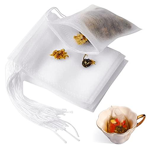50 Stücke Teebeutel Einweg,Einweg Teefilter Beutel Kordelzug Siegel Tee Filter Taschen Stoff Leere Tee Aufguss Taschen für Loseblatt Tee und Kaffee(7 x 9 cm)