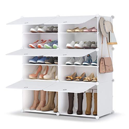 HOMIDEC Zapatero de 5 niveles, de plástico, organizador para armario, pasillo, dormitorio, entrada, blanco