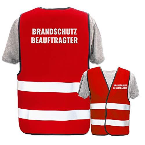 Bedruckte Warnwesten mit ISO-Leuchtstreifen * Standard- oder Reflex-Druck * Erste Hilfe und Brandschutz, Begriff:Brandschutzbeauftragter (Reflektierend), Farbe + Größe:Rot (M/L)