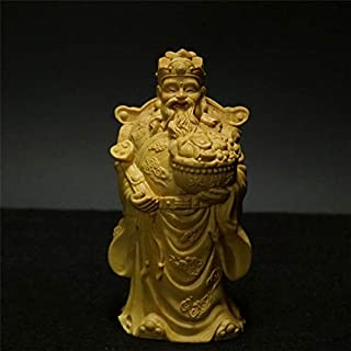 TULLE HOT- Wealth God - 12Cm Wood God of Wealth Fortune Star Buddha Statue Gold Bowl Sculpture Wooden Statue Decoration Crafts Pray Wealth Gift Figure - - 1 Pcs