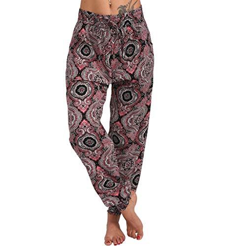 Xniral Damen Yoga Hose Lose Haremhose mit Mittlerer Taille und Breitem Bein Boho-Stil Jogginghose beiläufige lose Hippie Baggy Pluderhose Hosen(Wein,L)