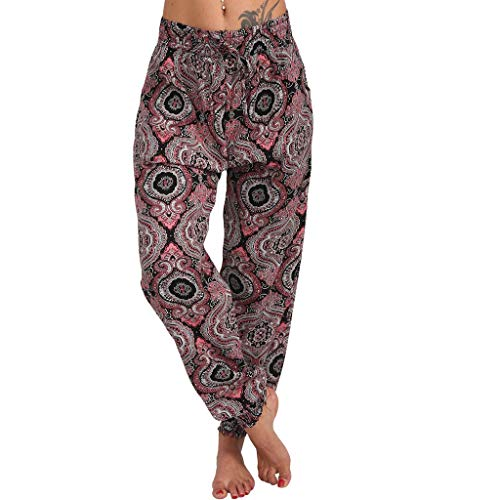 Xniral Damen Yoga Hose Lose Haremhose mit Mittlerer Taille und Breitem Bein Boho-Stil Jogginghose beiläufige lose Hippie Baggy Pluderhose Hosen(Wein,XL)