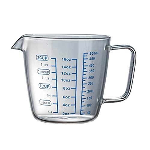 GEQIAN Jarra medidora de vidrio para cocina o restaurante resistente al calor Copa medidora - con escala niños taza de leche de alto borosilicato tazas de vidrio