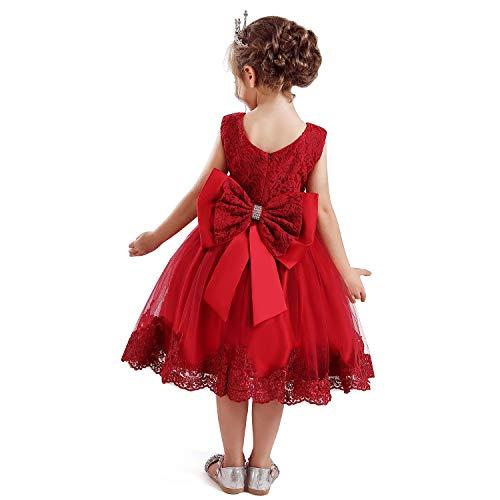 NNJXD Filles 'Dentelle Broderie Fleur Princesse Robe de mariée Taille (110) 3-4 Ans Rouge