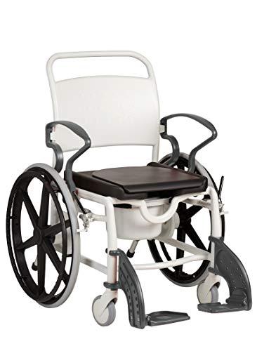 FabaCare Dusch- Toilettenrollstuhl Miami, 24 Zoll Räder, bis 150 kg, made in Germany, Premium Toilettenstuhl, Duschstuhl fahrbar, Rollstuhl mit WC Eimer, Grau-Grau