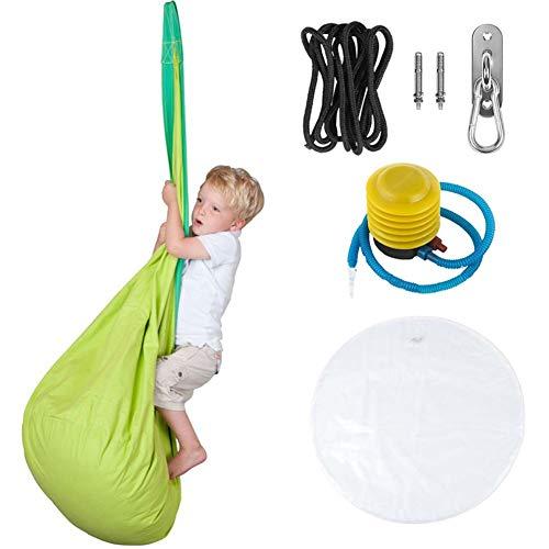 Rock1ON - Juego completo de puf hinchable para niños, 100 % algodón, bolsa de almacenamiento, silla giratoria, tienda de campaña para interiores y exteriores, para colgar en el jardín