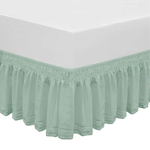 QSY Home Wrap Around Elastic Eyelet Bed Skirts 14 1/2 Inches Drop Dust Ruffle Three Fabric Sides Easy On/Easy Off Adjustable Polyester Cotton(Light Green Twin/Full)