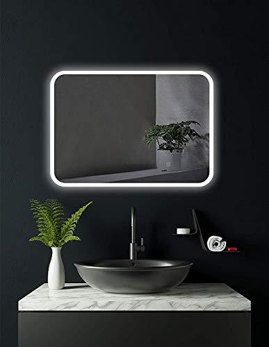 HOKO® Badezimmerspiegel mit LED Beleuchtung außen, LED Spiegel München 50x70cm, waagerecht und senkrecht zu montieren, Badspiegel mit Licht, Energieklasse A+ (WEEE-Reg. Nr.: DE 40647673)