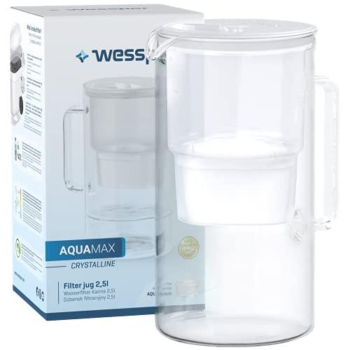 Wessper Caraffa Filtrante in Vetro con 1 Cartuccia (Compatibile con Brita Maxtra), Elimina Cloro, Impurità e Metalli Pesanti, 2.5Litri, Bianco