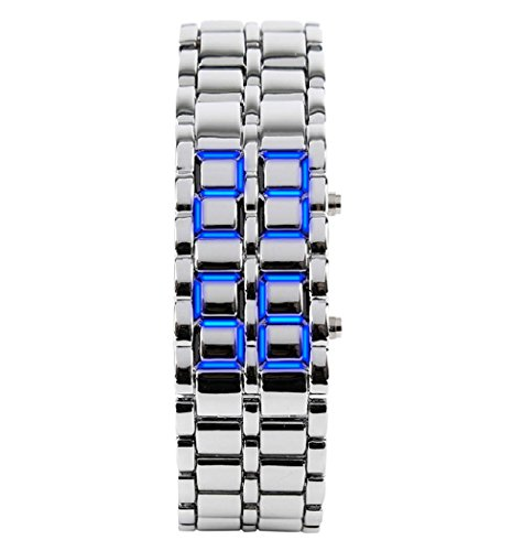 Fashion Men's Simple Youth Sports Watch Electronic Binary Digital LED Lava Alloy Rectangular Chain Watch (Men Silver Blue)