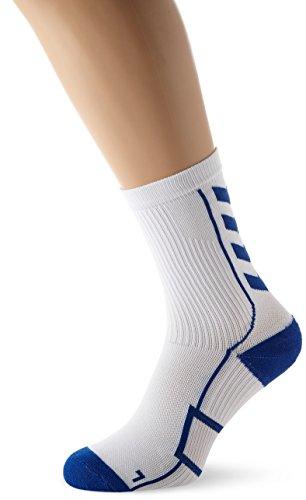 Hummel Sportsocken kurz Unisex mit Polsterung div. Farben - REFLECTOR TECH INDOOR SOCK LOW - Socken antibakteriell für Sport und Fitness - Strümpfe Mesh Belüftung, weiß (White/True Blue), 10, 21-074-9368