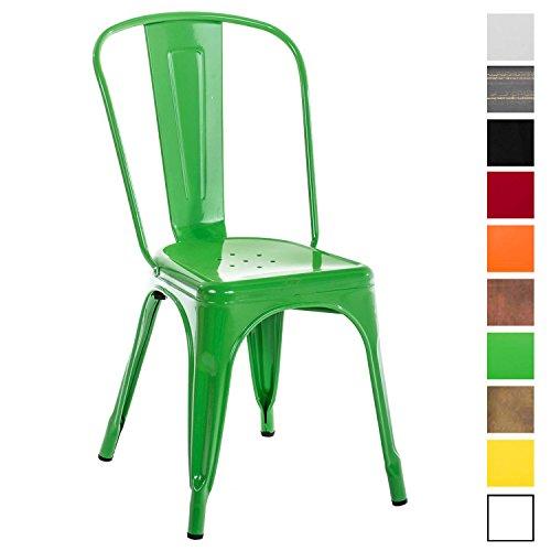 CLP Metallstuhl Benedikt mit hoher Rückenlehne und Bodenschonern I Stapelstuhl aus Metall mit Einer Sitzhöhe von: 44 cm I erhältlich Grün