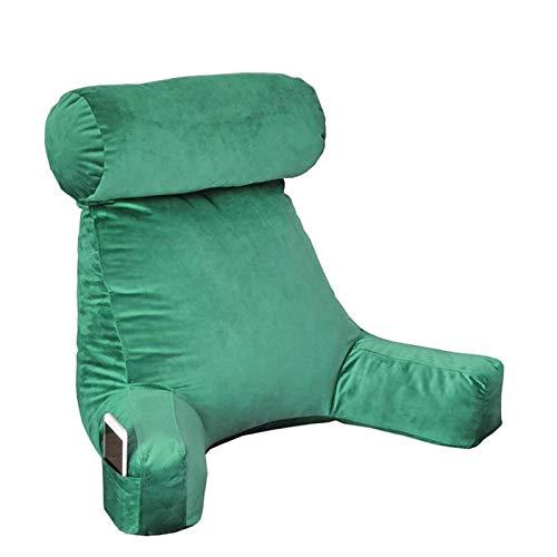 Cojín de lectura con reposacabezas y reposabrazos, para cama, cómodo y ergonómico, cojín de lectura, para sofá, leer, relajarse o trabajar cómodamente, cubierta extraíble