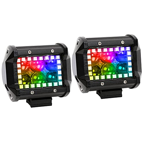 Nicoko 18w 4Inch Cree Led Work Light bar with Multi-Color Chasing RGB Halo 10 Solid Colors Over 72 Flashing Modes Offroad Pods Lights LED Driving Lamp Fog Lights for Truck Jeep 1 Year Warranty Pack 2