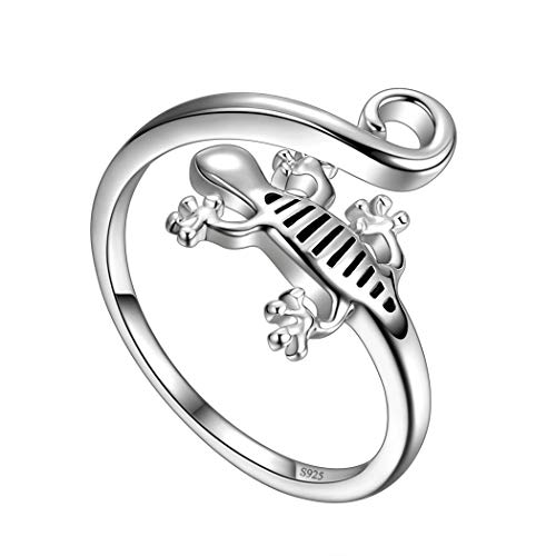 Besilver Verstellbarer Gecko Eidechsenring für Frauen Mädchen 925 Sterling Silber Reptilien Salamander Ring Tier Offener Wickelring für Jugendliche Eidechsenschmuck Geschenk FR0029W