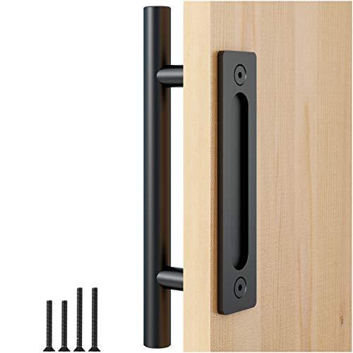 """FaithLand 12"""" Heavy Duty Pull and Flush Door Handle Set in Black, Sliding Barn Door Handle - Fit Doors Up to 2 3/8\\"""