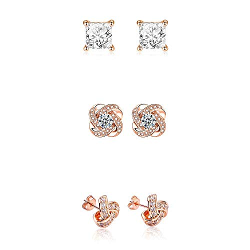 Love Knot Cubic Zirconia Crystal Square Rhinestones Stud Earrings Set Hypoallergenic Sparkling CZ Earrings Set Piercing Jewelry Proposal Gift for Women Girls Wedding-Rose Gold