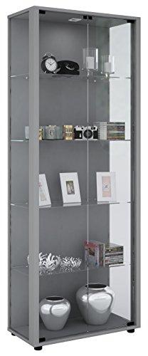 VCM Vitrine Sammelvitrine Standvitrine Glasvitrine Glas Schrank Regal Schaukasten Silber 176 x 67 x 33 cm