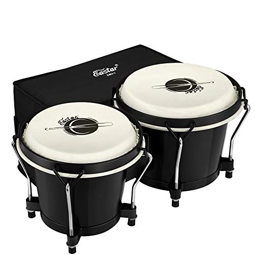 """Eastar Bongo Drums 6"""" and 7"""" Congas Drums for Kids Adults Beginners Professional Wood Percussion Instrument with Bag and Tuning Wrench, Black"""