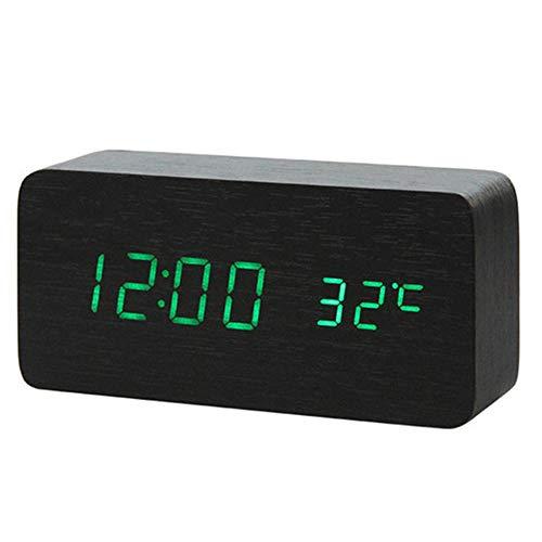 LZBB 2019 Nueva Despertador Llevado de Control de Sonido, termómetro Digital, Madera luz de Fondo, Brillante Reloj Retro, Mesa, Iluminado Despertador