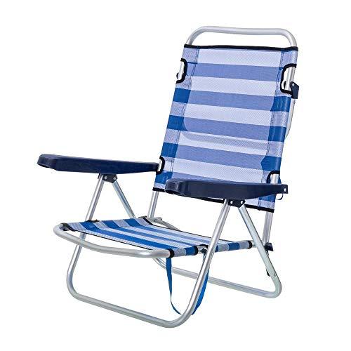 Silla Baja Plegable con 4 Posiciones de Playa o Camping Azul de...