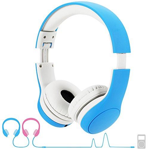 Hoofdtelefoon kinderen, hoofdtelefoon voor kinderen met 93 dB volume, begrenzing, gehoorbescherming & muziek-Sharing-functie, kinderhoofdtelefoon voor jongens meisjes 3-8 jaar blauw