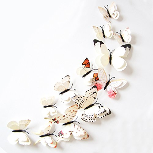Oblique Unique 3D Schmetterlinge Doppelflügel Effekt Blumen 12er Set Dekoration Wandtattoo (Weiß)