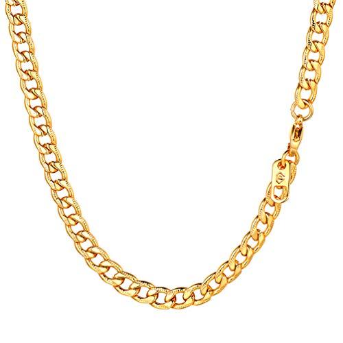 PROSTEEL 18k vergoldet Edelstahl Panzerkette 5mm breit Herren Rändel-Design Halskette Gliederkette 46cm/18 Kettelänge Hip Hop Schmuck Geschenk für Männer Jungen