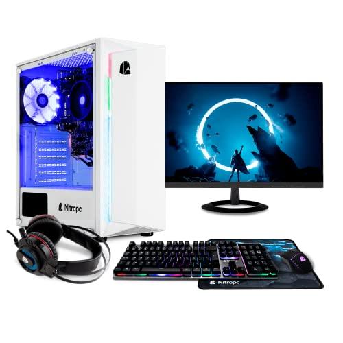 "NITROPC - PC Gaming Pack Bronze Rebajas   PC Gamer (CPU Intel G6400 2/4 x 4,00Ghz (Turbo)   Gráfica GT 1030 2GB) + Monitor 23,6"" + Teclado + ratón + Cascos   RAM 16GB   M.2 256GB   HDD 1TB"