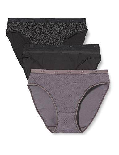 Dim - Pockets Coton - Slip - Quotidien - Lot de 3 - Femme - Noir (Lot Noir Logo) - FR : 44 (Taille fabricant : 44/46)