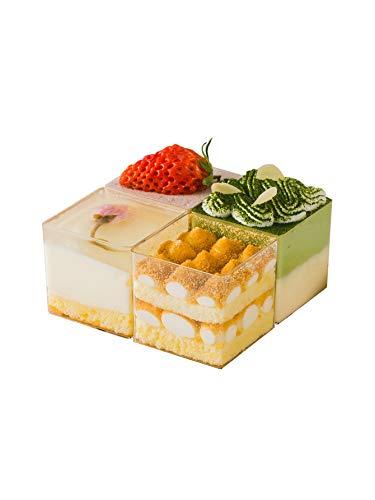 Vierkante dessertvorm transparante plastic parfait bekers - 10 stuks | Mini bekers - Chocolade bekers voor desserts glazen Dessert bekers Jelly Cup