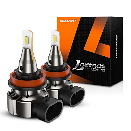 SEALIGHT H11/H8/H9/H16 LED Fog Light Bulbs 6000lm, Laxmas L1 Series 6000K Extremely Bright Xenon White, Easy Installation, Halogen Fog Lamps Daytime Running Light Bulbs Replacement, Pack of 2