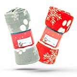 2 X Christmas Dog Blankets Washable Snowflake Paw Prints Dog Pet Blanket for Cat Soft Warm Dog Fleece Puppy Cat Blanket (100cm X 120cm, RED and GREY (Pack of 2))