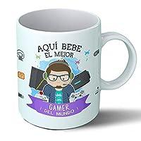 Planetacase Taza Desayuno Aquí Bebe el Mejor Gamer del Mundo Regalo Original ...