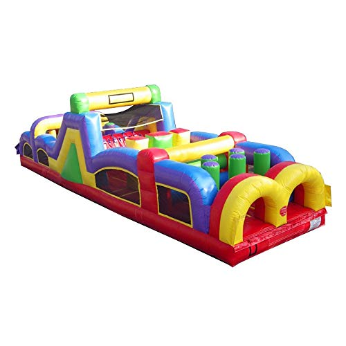TentandTable 40' Foot Retro Style Obstacle Course - 40' Length x 11' Width x 11' Height - Commercial Inflatable Backyard Bouncer - Includes: Blower and Stakes