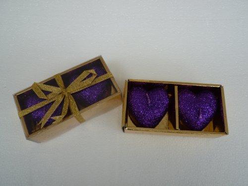 Bella-Vita GmbH 2 x 2er Set Kerzen in Herzform, Farbe lila