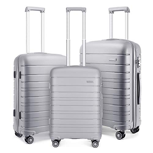 Kono Lightweight Polypropylene Luggage Sets with 4 Spinner Wheels and TSA...