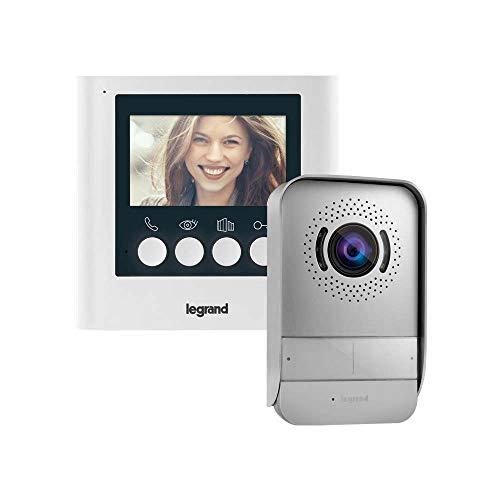 Kit videoportero Legrand 369110, compuesto de un monitor de vídeo interior con pantalla a color de 4,3 pulgadas e interfono exterior de visión nocturna gran angular, acabado blanco.