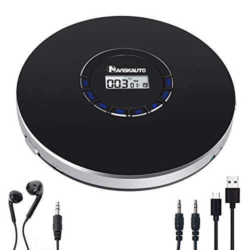 Portable CD Player Rechargeable, LED Backlit Display, 12 Hours Playing Time, Shockproof and 3.5mm AUX Cable Included