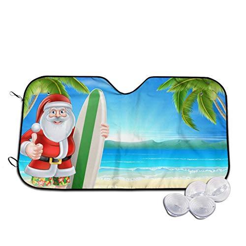 Parasol para parabrisas de coche con estampado de Papá Noel con la playa y tabla de surf, parasol para ventana frontal, rayos UV, protector de visera pequeña