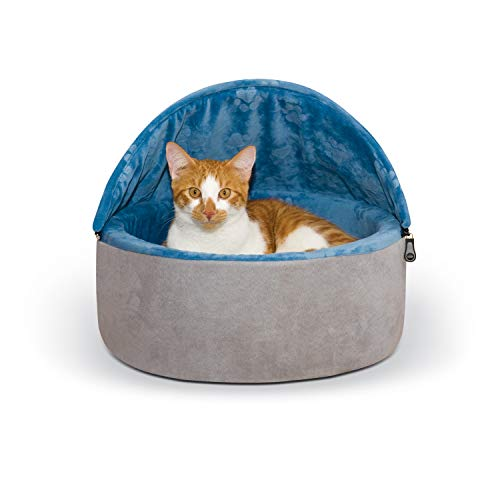 K&H Pet Products Self-Warming Kitty Bed Hooded Pet Bed for Cats or Dogs Blue/Gray Small 16 Inches