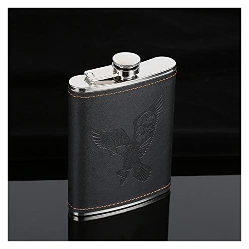 Frasco Mini matraz de Cadera Whisky matraz portátil Metal Alcohol matraz Hombres al Aire Libre Bolsillo Botella de Vino pequeño Mini matraz Más Duro (Size : 7oz (Black Eagle))