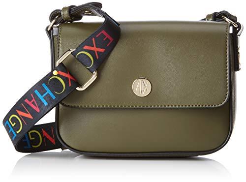 ARMANI EXCHANGE Small Crossbody Bag With Round Logo - Borse a tracolla Donna, Nero (Black), 18x8x21 cm (B x H T)