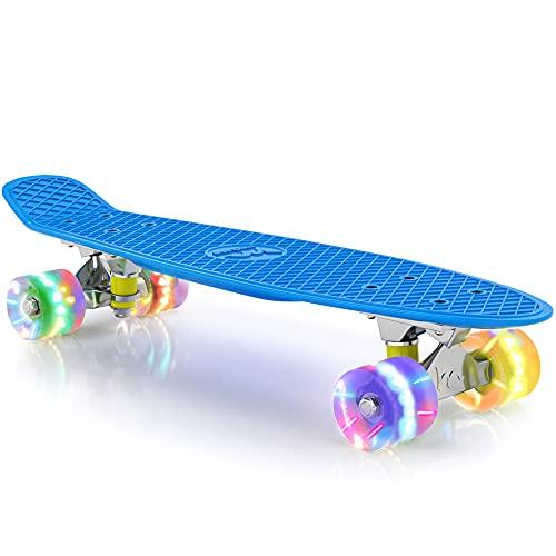 "M Merkapa 22"" Complete Skateboard with Colorful LED Light Up Wheels for Kids, Boys, Girls, Youths, Beginners(Blue)"