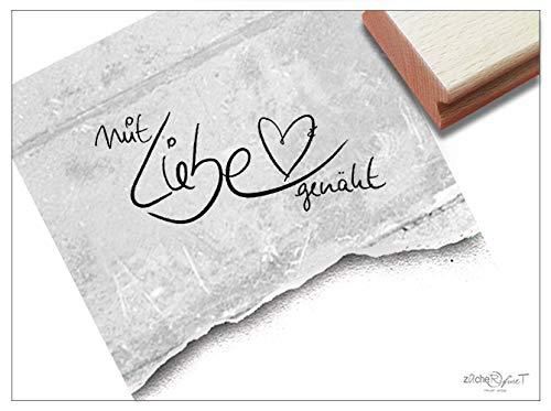 Stempel Textstempel MIT Liebe GENÄHT Handschrift mit Herz - Schriftstempel Schilder Etiketten Banderole selbst gemacht Handarbeit - zAcheR-fineT